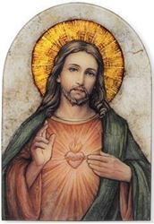 Arched Plaque Sacred Heart of Jesus