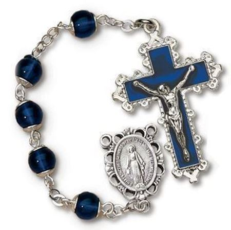 Capped Glass Beads Rosary Blue