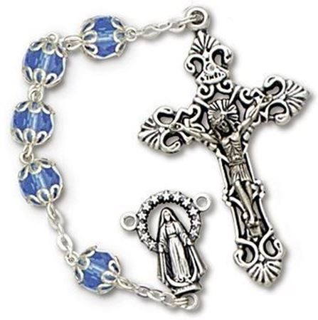 Capped Blue Rosary with Aurora Borealis Beads