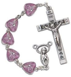 Heart Shaped Rosary Amethyst