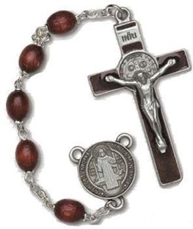 St. Benedict Brown Wood Rosary
