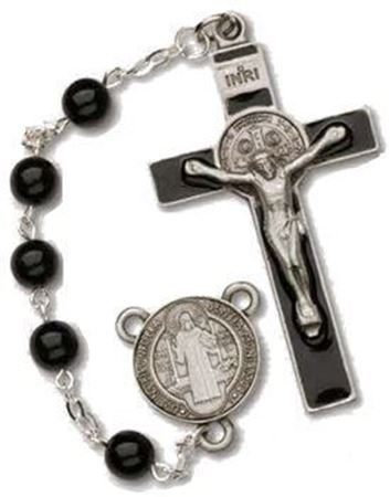 St. Benedict Black Glass Rosary