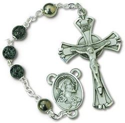 Green and Black Glass Rosary
