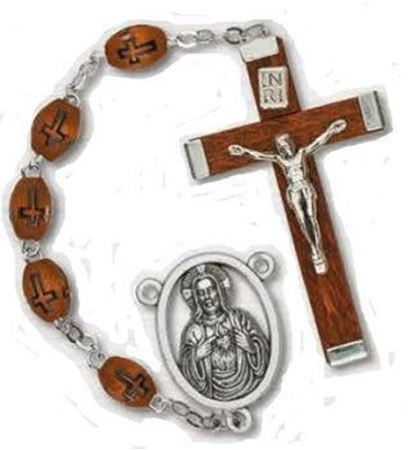 Cross Engraved Wood Rosary