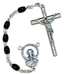 Black Wood Bead Rosary with Pewter Crucifix