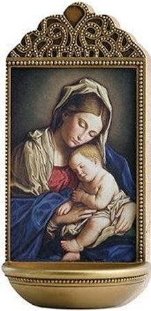 Picture of Madonna and Child Holy Water Font - 6 in
