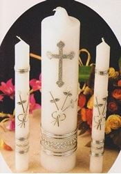 Picture of Wedding Unity Candle Set - Silver Cross