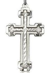 Picture of Sterling Silver Framed Knurl Cross Pendant