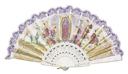 Our Lady of Guadalupe White Laced Hand Fan