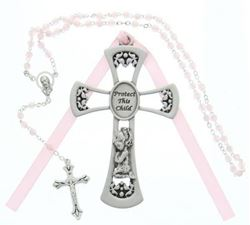 Pewter Baby Girl Cross Crib Medal & Rosary Set - 4 in.