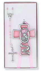 Pink Guardian Angel Cross Rosary Set - Girl's - 3 in.