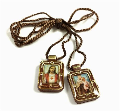 catholic the handmade with company inch brown scapular cord necklace