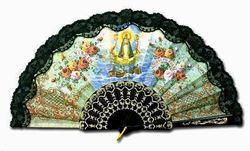 Our Lady Of Charity Hand Fan - Black