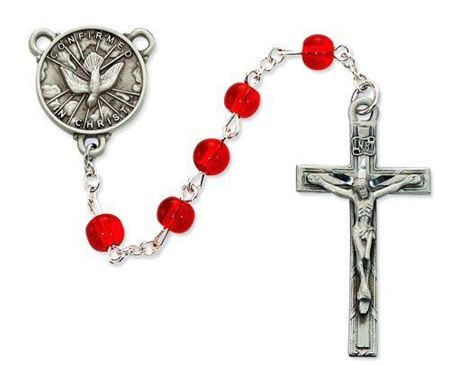 Glass H.S. Rosary - Red