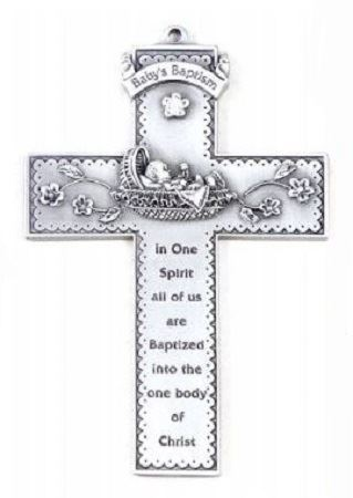 Picture of Baby Bunting Baptism Wall Cross 5 in