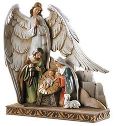 Picture of Nativity with Angel Figurine 8 in.