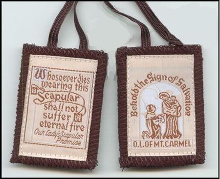 Picture of Brown Scapular - Traditional with Salmon color