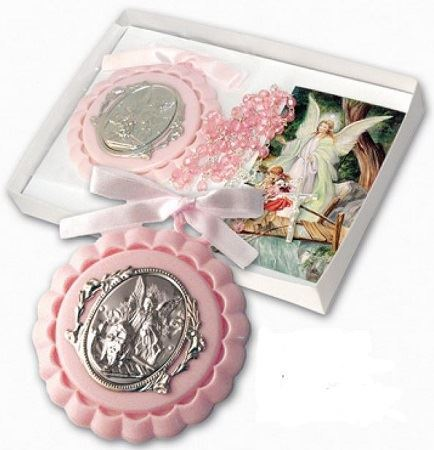Picture of Crib Medalian & Rosary Guardian Angel Pink