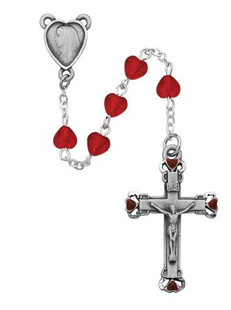 Picture of 6X6MM Ruby Heart Rosary