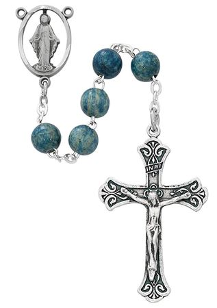 Picture of Blue wood Rosary 7MM