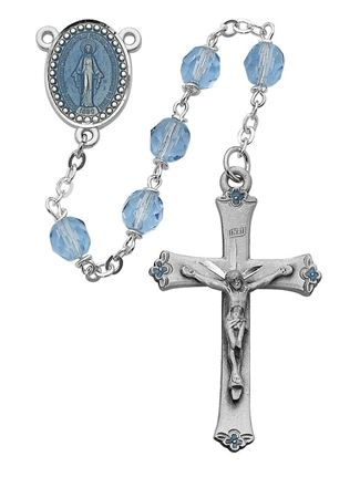 Picture of Blue Glass Rosary 7MM